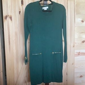 Michael Kors Emerald Sweater Dress w gold zippers